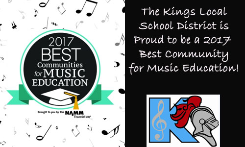 Kings Local School District named A Best Community for Music Education 2017.