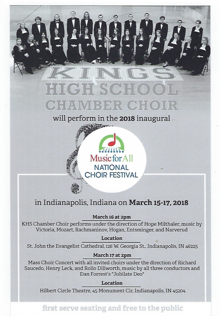 KHS Chamber Choir Music for All Choir Festival flyer