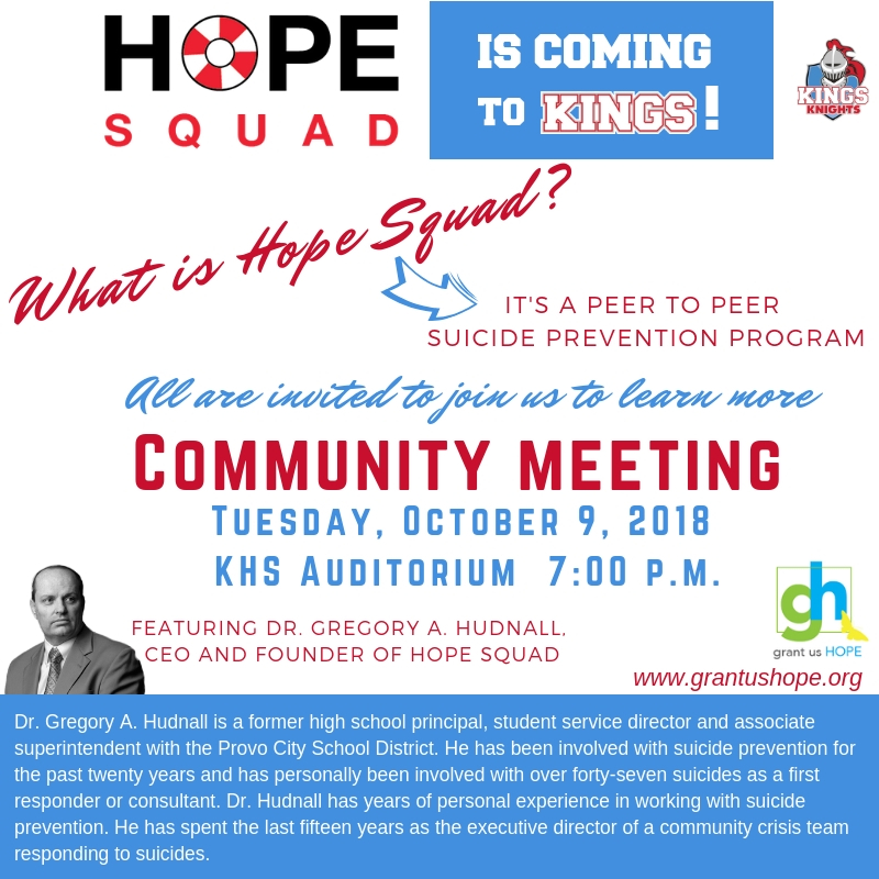 Hope Squad Community Meeting Flyer