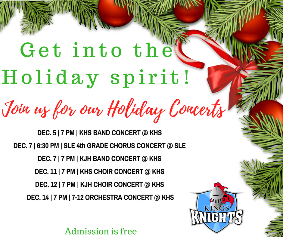 2017 Kings Holiday Concert Schedule
