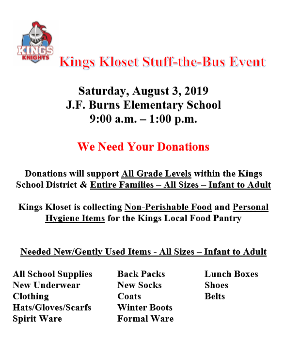 Kings Kloset stuff the bus event flyer