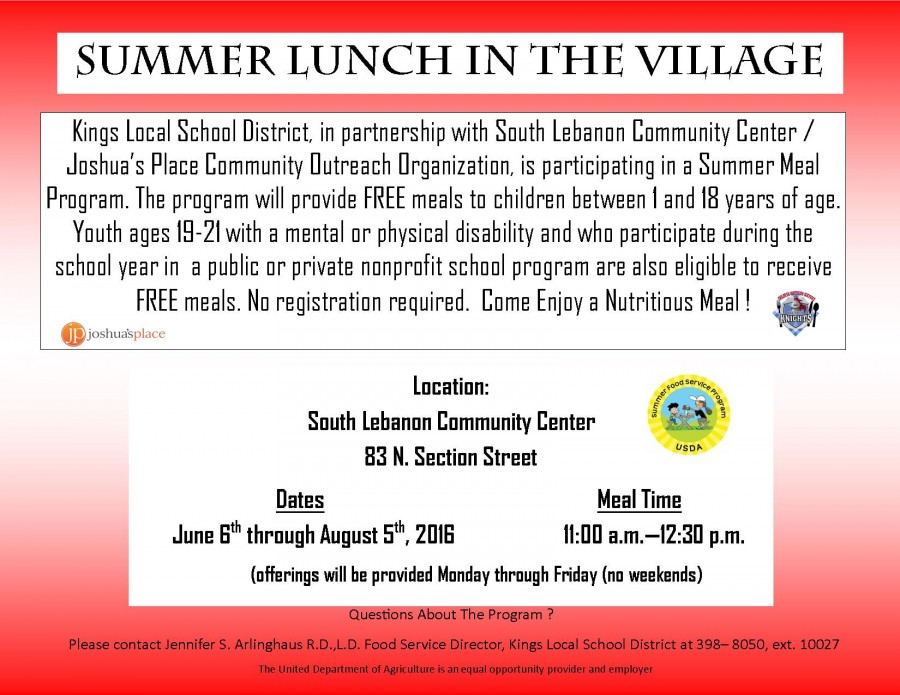 Summer Lunch program flyer
