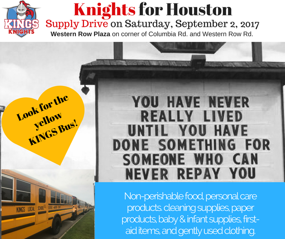 Kings hosting Supply Drive for Houston on 9/2 from 10-5 at Western Row Plaza.