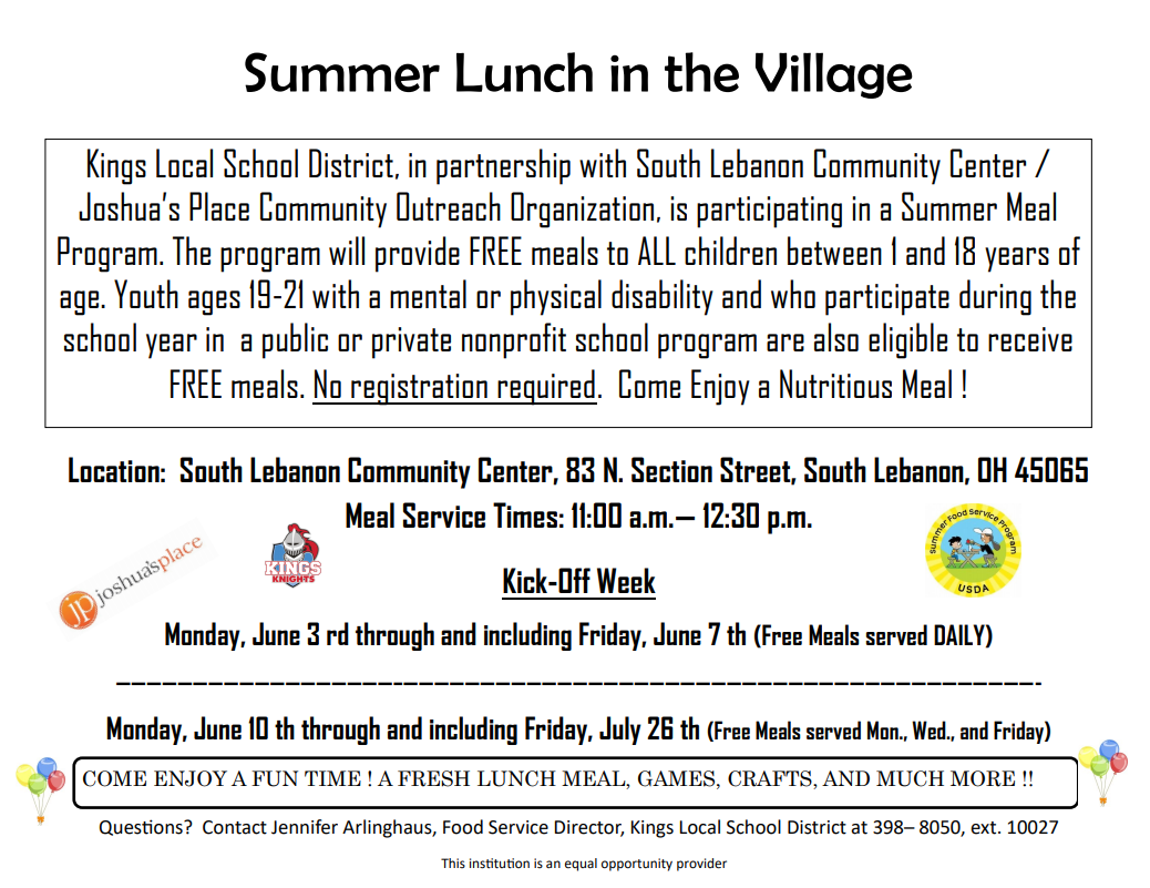 Summer Lunch Program graphic