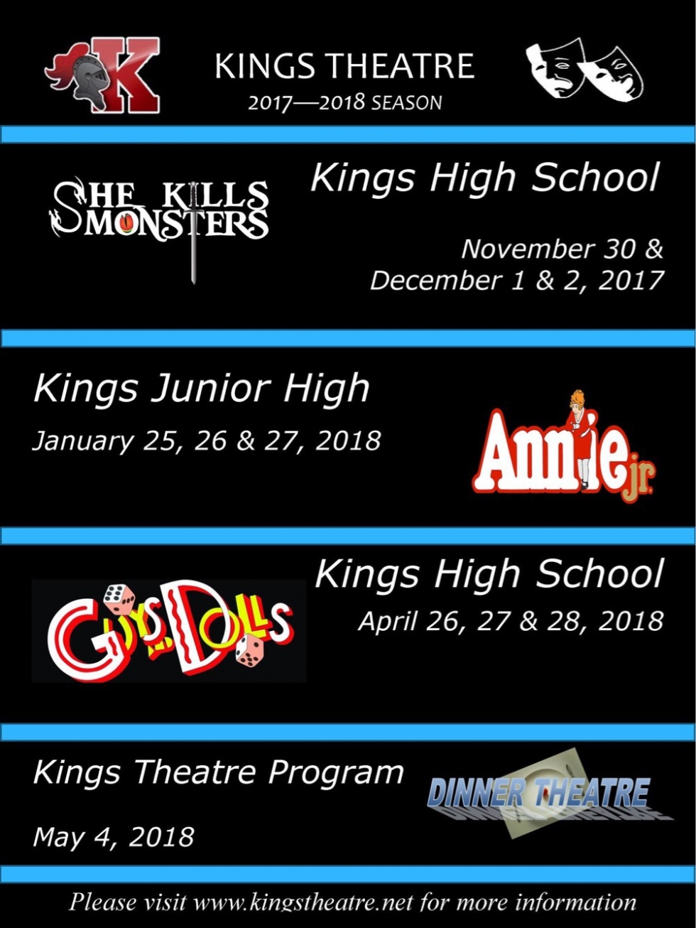 2017-2018 Kings Theatre Performance Schedule