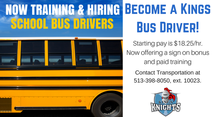 Kings Bus Driver Needed graphic