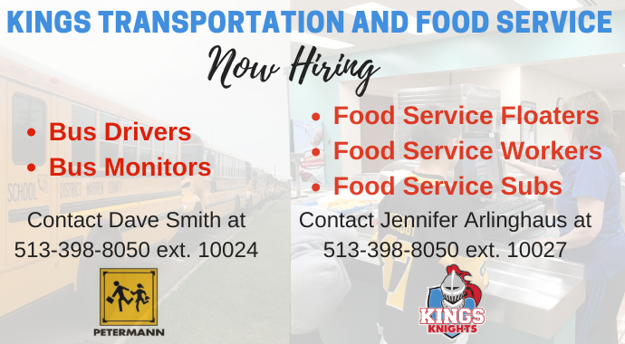 Now hiring food service workes and Bus Drivers